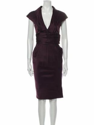 J. Mendel Plunge Neckline Midi Length Dress Purple
