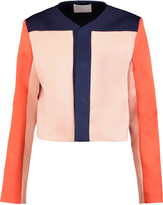 SOLACE London Andi cropped printed satin-twill jacket