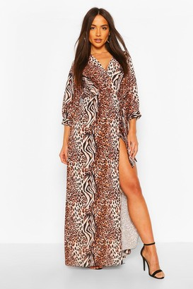 boohoo Mix Animal Print Wrap Maxi Dress