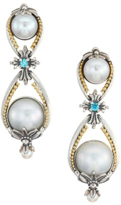 Konstantino Thalia 18K Yellow Gold, Sterling Silver, Cultured Pearl & Blue Spinel Earrings