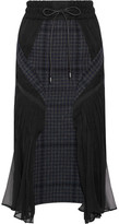Sacai Chiffon-paneled Houndstooth Wool-blend Tweed Midi Skirt - Midnight blue