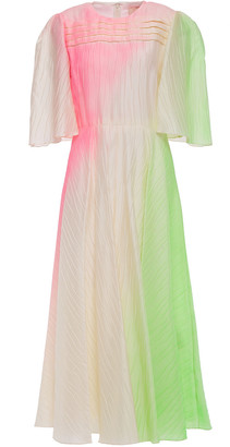 Roksanda Pleated Neon Taffeta Midi Dress