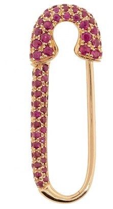 Anita Ko 18kt Rose Gold Ruby Safety Pin Earring