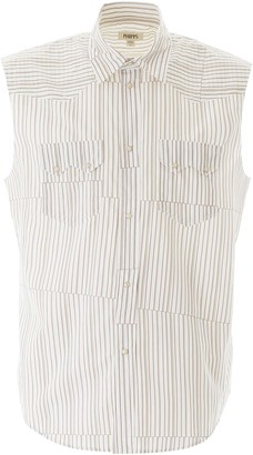 Phipps SLEEVELESS STRIPED SHIRT M White, Brown Cotton