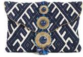 Steve Madden Steven By Beaded & Embroidered Clutch - Blue