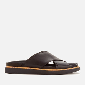 Clarks Women's Trace Drift Leather Cross Front Sandals - Black