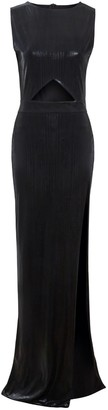 Sarvin Moss Black Metallic Cut Out Bodycon Maxi Dress