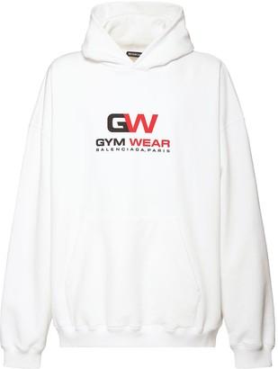 Balenciaga Logo Gym Print Cotton Jersey Hoodie