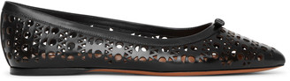 Alaia Pointed black leather ballet flats