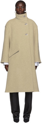 Acne Studios Beige Boiled Wool A-Line Wrap Coat