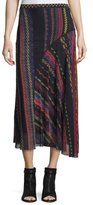Fuzzi Blanket-Print Seamed Midi Skirt, Black/Multi