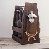 """Cathy's Concepts Cathys concepts Groomsman"""" Antlers Wooden Craft Beer Carrier"""