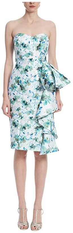 Badgley Mischka Print Side Ruffle Cocktail (Ivory Multi) Women's Dress