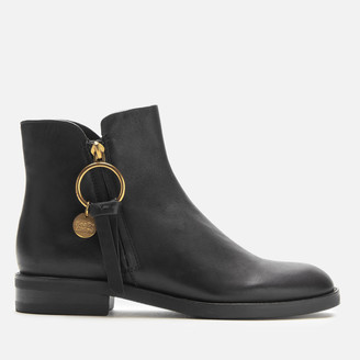 See by Chloe Women's Leather Flat Ankle Boots - Nero