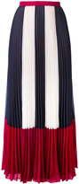 RED Valentino stripe panel pleated skirt - women - Polyester - 40