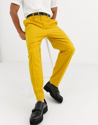 ASOS DESIGN balloon smart trousers in honey yellow