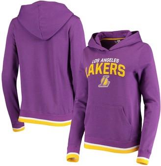 New Era Women's Purple Los Angeles Lakers Fleece Chenille Flocking Pullover Hoodie