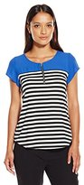 NY Collection Women's Petite Cap Sleeve Top with Solid Yoke and Stripe Body Zipper AT Front