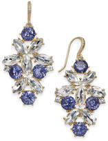 Charter Club Gold-Tone Blue & Clear Crystal Drop Earrings, Created for Macy's