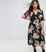 Uttam Boutique Plus Flower Print Wrap Dress