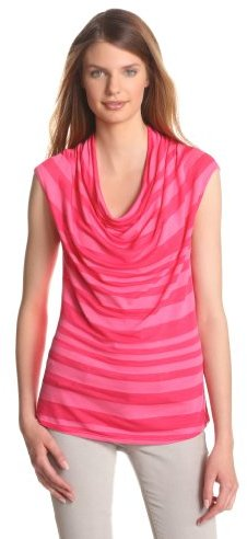 Three Dots Red Women's Cap Sleeve Cowl Neck Top