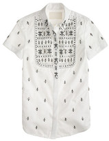 Thomas Mason Collection for J.Crew jeweled bib shirt in royal oxford
