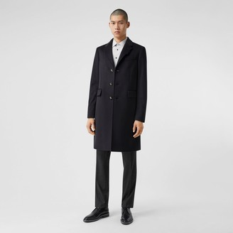 Burberry Button Detail Wool Cashmere Tailored Coat