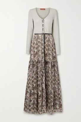 Altuzarra Pollie Belted Ribbed-knit And Snake-print Silk-blend Chiffon Maxi Dress - Cream
