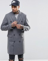 Asos Wool Mix Double Breasted Overcoat In Light Gray Marl