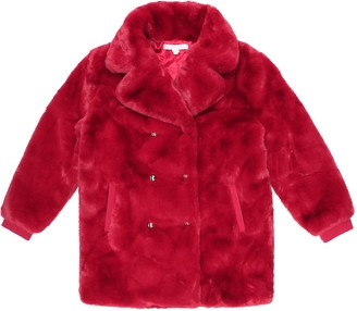 Chloé Kids Double-breasted faux fur coat
