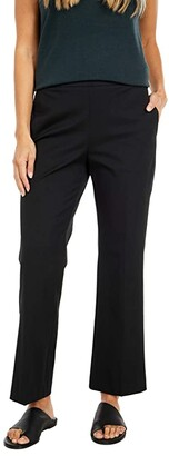 Eileen Fisher Organic Cotton Stretch Twill High-Waisted Cropped Pants (Black) Women's Casual Pants