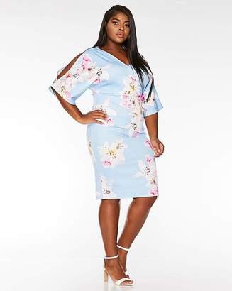 Quiz Curve Quiz Blue Floral Bodycon Dress