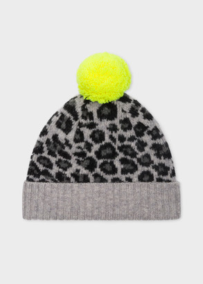 Paul Smith Women's Grey Wool 'Leopard' Bobble Hat