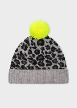 Paul Smith Women's Grey Wool 'Leopard' Bobble Hat