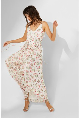 Esprit Floral Print Maxi Dress with Shoestring Straps