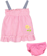 Sweet & Soft Pink Flower Seersucker A-Line Dress & Diaper Cover - Infant