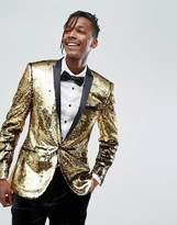 Asos Super Skinny Blazer In Gold Reversible Sequins