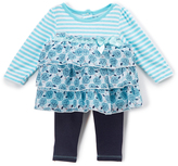 Buster Brown Blue Radiance & Bright White Rose Top & Leggings - Infant