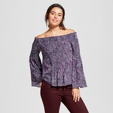 Lily Star Women's Printed Cold Shoulder Top Juniors')