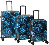 Isaac Mizrahi Live! 3-Piece Blue Floral Hardside Spinner Set - Inez