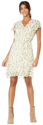 Sam Edelman Floral Shirred Skirt Dress (Ivory/Pink) Women's Dress