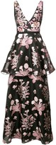 Marchesa embellished floral sleeveless gown