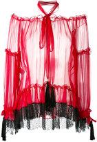 Alberta Ferretti lace detail sheer blouse - women - Silk - 40