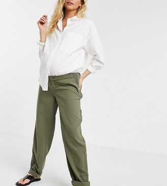 ASOS DESIGN Maternity slouchy chino trouser in khaki cheesecloth with side bump band