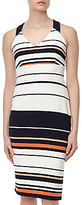 Adrianna Papell Sleeveless Ottoman Stripe Dress, Fire Cracker