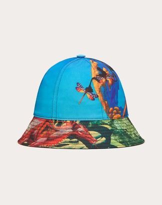 Valentino Uomo Red Dragon And Yes F&r2 Bucket Hat In Nylon Man Azure Polyester 100% 57