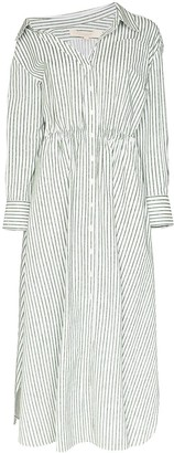 By Any Other Name Off The Shoulder Striped Shirt Dress