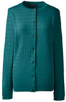 Classic Women's Cable Crew Cardigan Sweater-Evergreen/White Large Plaid