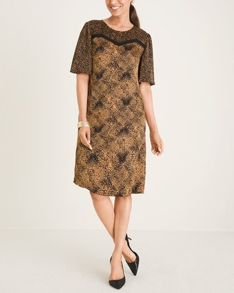 Chico's Animal-Print Blocked Sheath Dress