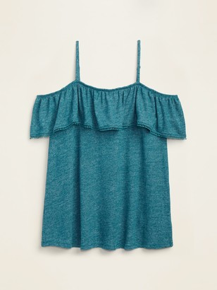 Old Navy Ruffled Off-the-Shoulder Linen-Blend Jersey Plus-Size Cami